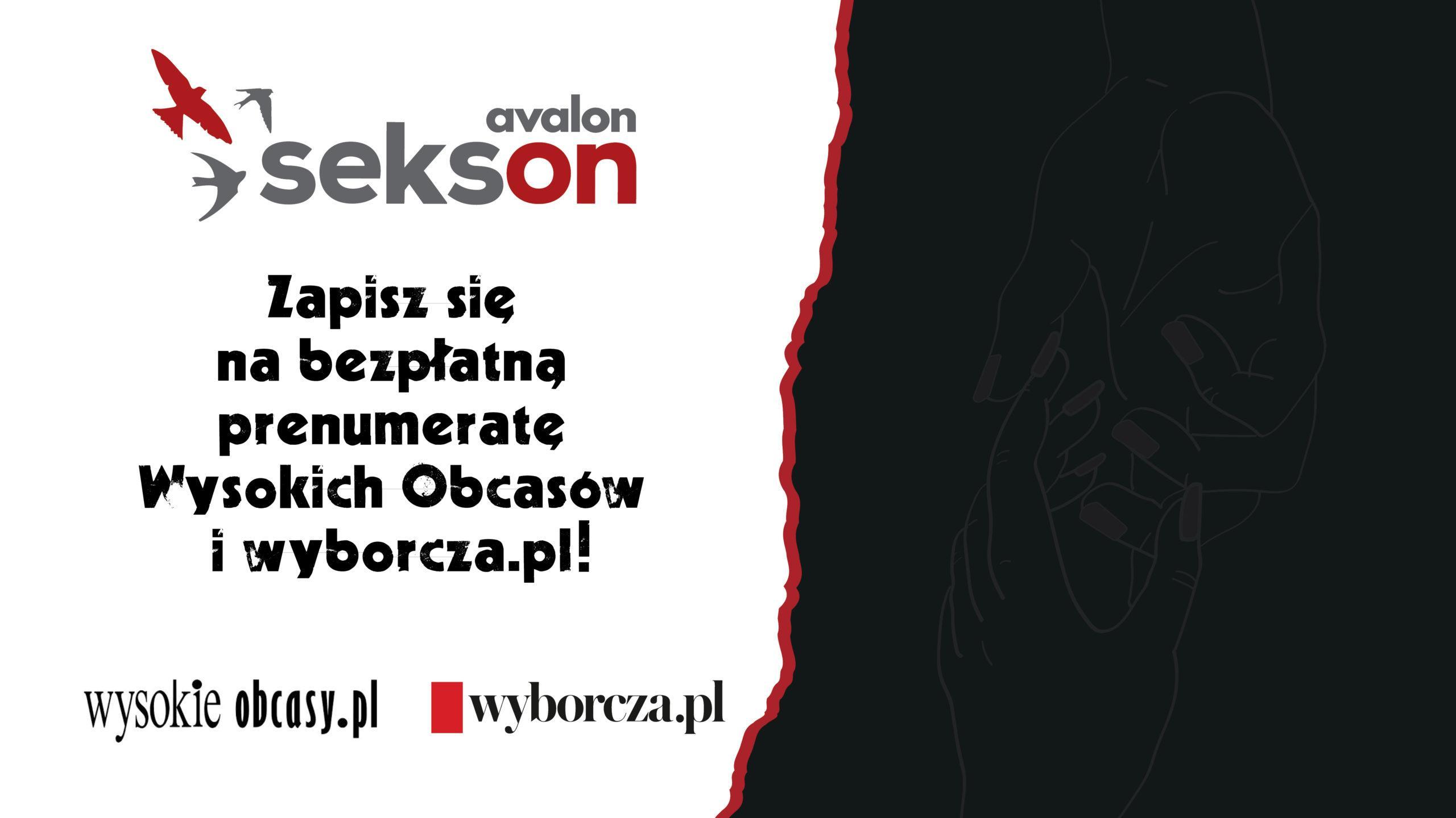 Czarny napis nabuałym tle: Zapisz się nabezpłatną prenumeratę wysokich obcasów iwyborcza.pl. Obok logotyp projektu sekson, Wysokich Obcasów iwyborcza.pl