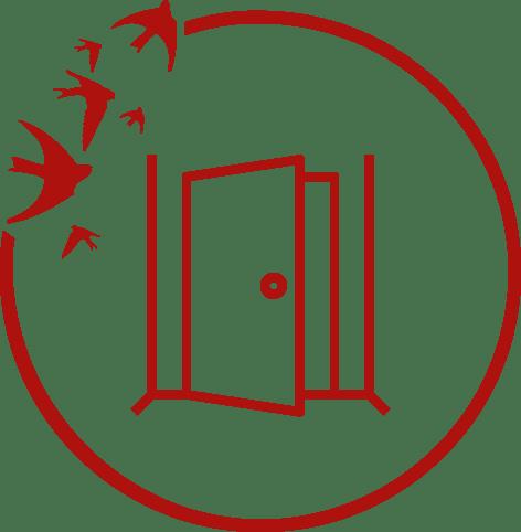 Ikona zotwartymi drzwiami.