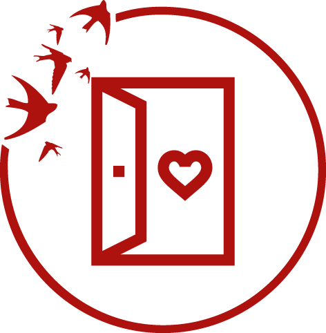 Ikona zotwartymi drzwiami. Wdrzwiach serce.