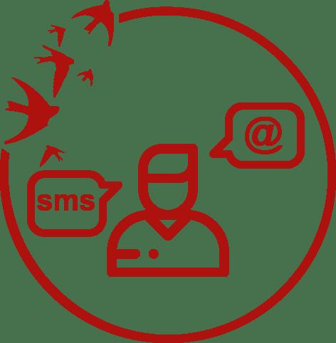 Ikona zczłowiekiem idwoma dymkami oznaczającymi wypowiedź. Wdymkach symbol maila iSMS.