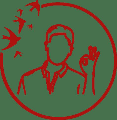 Ikona zmężczyzną wykonującym gest potwierdzający jakość.