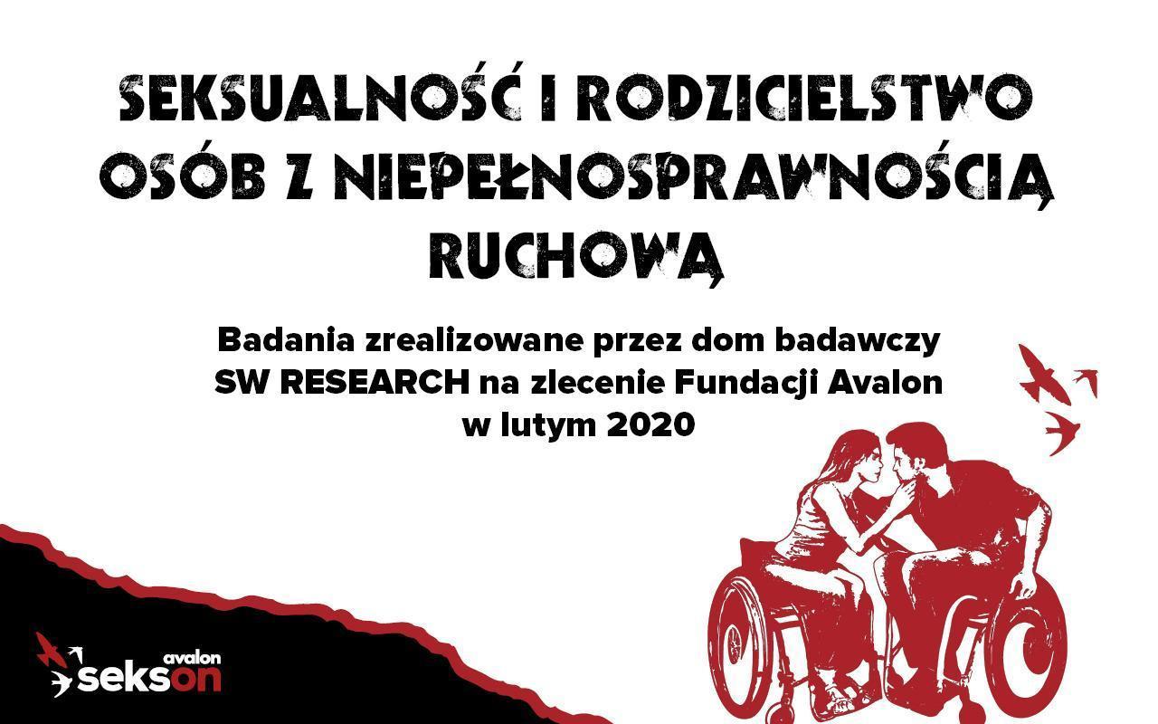 """Na grafice rysunek całujących się kobiety imężczyzny siedzących nawózkach. Napis: """"Seksualność irodzicielstwo osób zniepełnosprawnością ruchową. Badania zrealizowane przezdom badawczy SW Research wlutym 2020"""""""